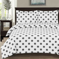 Modern 100% Cotton Percale Polka Dots Pattern Print Reversible Duvet Cover Set