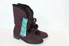Sporto womens 7 wide wine winter snow boot pom poms pixie