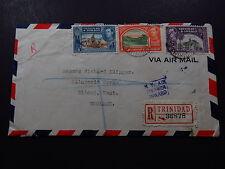 R-Cover Sobre Via Air Mail Trinidad Tobago Registered to Kent UK 1946