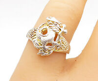 925 Sterling Silver - Vintage Shiny Sculpted Dragon Band Ring Sz 7 - R14407