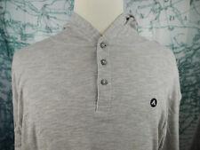 Airwalk NWT Men's Hooded Pullover Henley LS Shirt, Grey Skate Sz Lg $42 - Z155z