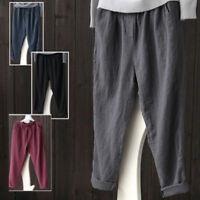 Womens Linen Cotton Harem Trousers Baggy Loose Casual Summer Pants Plus Size