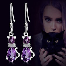 Silver plated Purple Cat Crystal Ear Stud Hook Earrings Xmas Jewelry Gift New #H