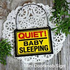 Quiet BABY Sleeping Door Hanger Tiny Sign Ornament Decor USA DECO Mini Gift Sign