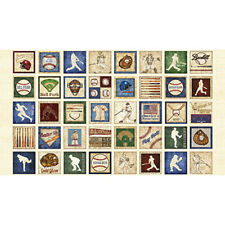 "Sports Baseball Bat Ball Blocks Ecru Cotton Fabric QT Grand Slam 24""X44"" Panel"
