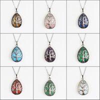 Natural Gemstones Teardrop Tree of Life Reiki Chakra Silver Pendant Necklace