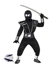 New Black Red White Mirror Totally Ghoul Ninja Boys Halloween Costume