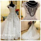 Cap sleeves Luxury crystals cathedral train wedding bridal dress gown