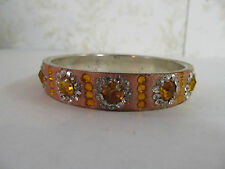 Bangle Bracelet Made in India Coral in Color with Jewel Adornments
