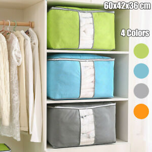 Large Foldable Non-woven Clothes Quilt Blanket Zipper  Bag Organizer Box
