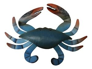 Blue Crab Painted Metal Wall Plaque 10 Inches