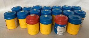 18 Vintage Kodak 35mm Metal Film Canisters. Yellow/Red/Blue