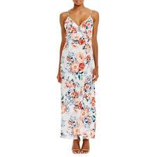 Minkpink 2874 Womens White Floral Print Faux Wrap High Low Hem Maxi Dress L BHFO