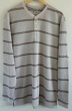 NEW Haggar Men's Henley Shirt Size Large Light Brown Stripes Waffle Weave LS