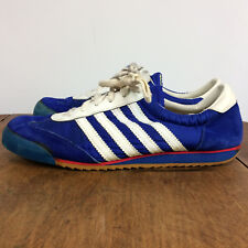 Vintage 70s 80s Nylon Track Running Athletic Sneakers Shoes 9.5 Blue Stripe