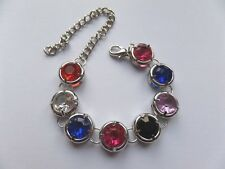 MULTI  & SILVER COLOUR ROUND DISCS LINKED BRACELET  NEW  adjustable  gift pouch