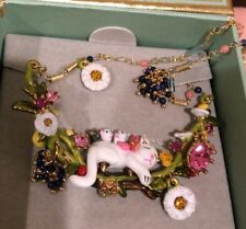 Les Nereides Cat And Kittens On Flowered And Fruity Branch Couture Necklace