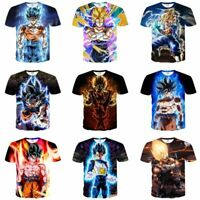 Dragon Ball Z Vegeta Goku Super Saiyan 3D Print T-Shirt Women Men Casual Tee Top