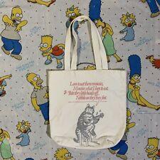 Vtg B Kliban Cat LOVE TO EAT THEM MOUSIES Reusable Canvas Tote Bag Shopping RARE