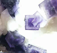 62g Rare Transparent Purple Cube Fluorite Mineral Crystal Specimen/China