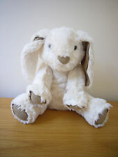 "Les Petites Marie cream bunny baby comforter soft hug stuffed toy 8"" brown suede"