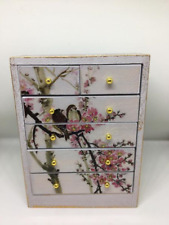 1:12th dolls house miniature shabby chic grey with bird decals chest of drawers