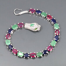 Natural Ruby & Emerald Sapphire Mix Gemstone 925 Sterling Silver Cobra Bracelet