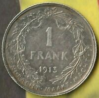 1913 Belgium 1 Franc~ 83.5% Silver- Dutch Text- Pretty Nice Example~