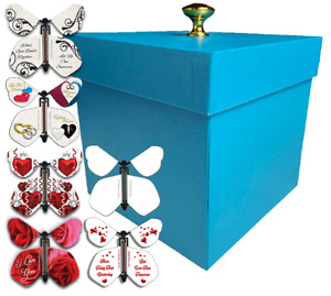 Blue Exploding Butterfly Box With Wedding Flying Butterflies