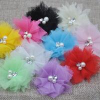 Cute 10PCS Mesh Ribbon Flowers Bows W/Beads Rhinstone Appliques Craft Lots E260