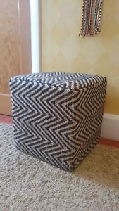 Wood & Hessian Covered in Black & Cream Chevron Patterned Cube Footstool Pouffe