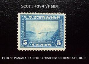 #399 1913 5 Cent, Panama-Pacific Exposition: Golden Gate, Blue, Perf 12