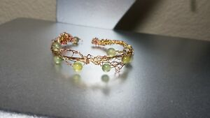 A Valentine as unique as yours Handcrafted wire/jade bracelet Whimsical, special