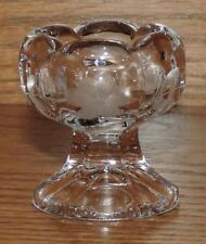 "NM VINTAGE 2""h FLORAL ETCHED PEDESTAL CLEAR GLASS SCALLOPED OPEN SALT DIP/CELLAR"