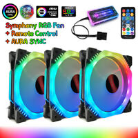 3Pcs 120mm Fans PC Computer Case RGB Cooling Fan Symphony AURA SYNC With Remote