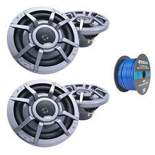 """Clarion 8.8"""" 2-Way 200 Watt Marine Speakers Gray (2 Pairs), Tinned Speaker Wire"""
