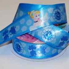 1 Metre Disney Princess Cinderella Roses 25mm Satin Craft Ribbon