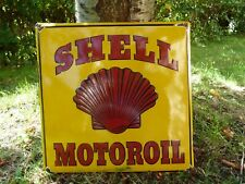 "SHELL porcelain sign advertising vintage tuning 18"" oil old gas USA garage pump"