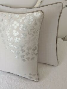 """16"""" Laura ASHLEY 'COCO ' DOVE GREY FABRIC CUSHION COVER PIPED & BACK GREY"""