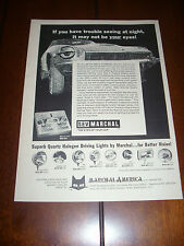 MARCHAL HALOGEN DRIVING LIGHTS   ***ORIGINAL 1974 AD***