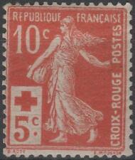 "FRANCE STAMP TIMBRE 147 "" CROIX ROUGE SEMEUSE 10c+5c ROUGE "" NEUF xx TTB K147"