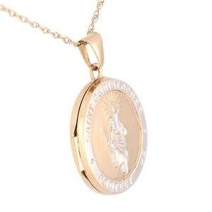 """9Carat Yellow & White Gold St Christopher Locket & 18.25"""" Prince Of Wales Chain"""