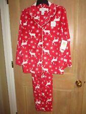 NEW KAREN NEUBURGER 1X FLEECE Pajamas L/S PJ's LONG PANTS Red Snowflakes Deer