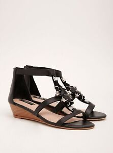 NEW Torrid Collection Black Jewel High Heel Wedge Sandals Shoes 11 Wide $88