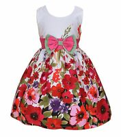 New Girls White and Hot Pink Flower Party Dress in 4 5 6 7 8 Years