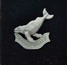Humpback Whale Pewter Tie Bar Clip Pin Clasp with Chain Tie Tack USA Souvenir ME