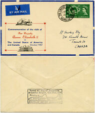 FLIGHT COVER 1957 LONDON AIRPORT HOUNSLOW CANCEL FFC DOUGLAS DC7c CANADA