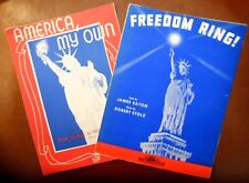 """2 Vtg 1940's WWII Patriotic STATUE OF LIBERTY Sheet Music """"Freedom Ring"""" USA"""