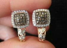 New 10K 0.4ct Real Chocolate Brown White Diamond Halo J Hoop Earrings Rose Gold