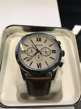 Fossil Chronograph Brown Leather Mens Watch Brand New In Box.